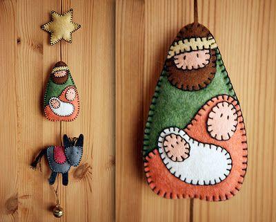 Un Cartamodello da scaricare e stampare per fare un addobbo natalizio della Natività in feltro.
