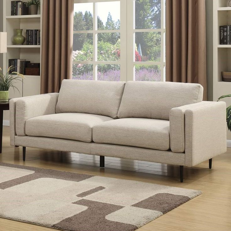 penngrove modern cream twill sofa weekends only furniture and mattress fabric sofamad menmattresssofas - Mad Men Sofa