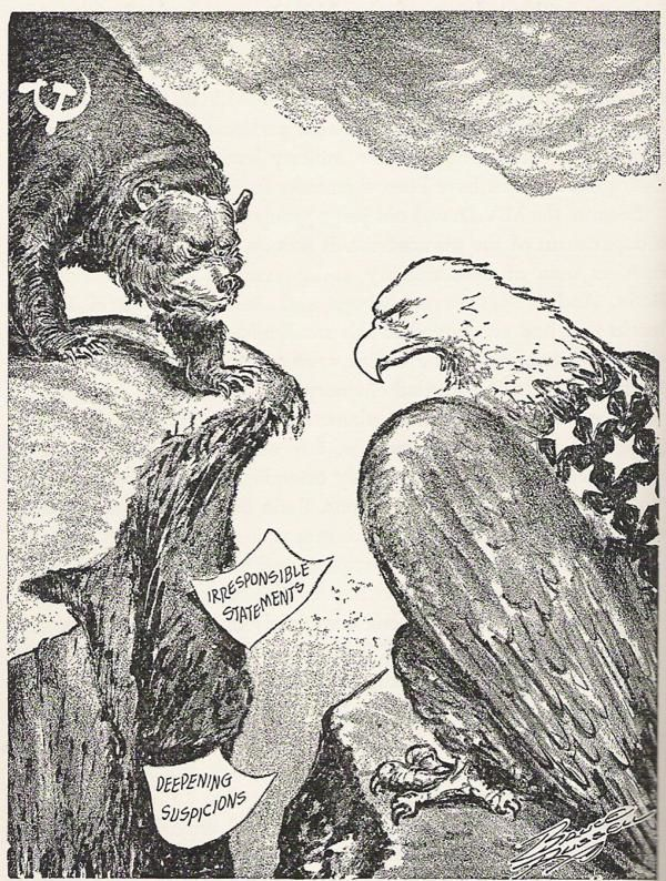 cold war political cartoons | Political cartoon of US vs USSR - look how strong our eagle looks!  We need that strength again - real or bravado - we need to put that stern face out there!