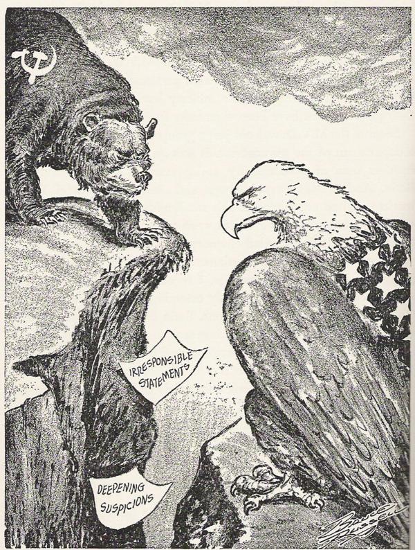 cold war political cartoons   Political cartoon of US vs USSR