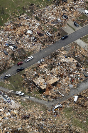 Neighborhood in Joplin Missouri after the EF5 tornado of May 22, 2011.