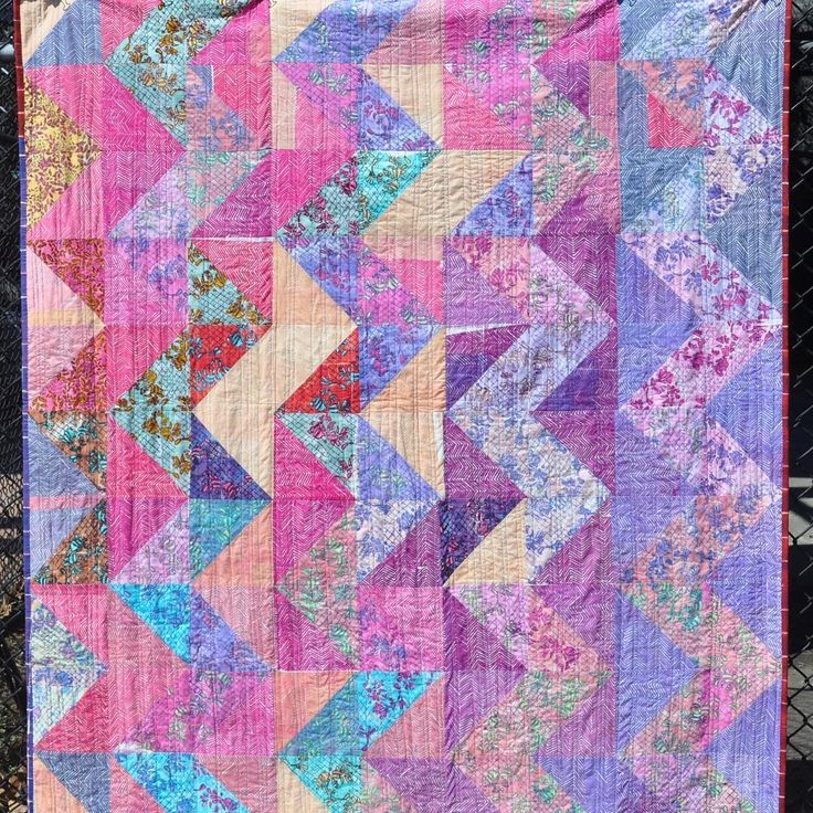 """This is my latest finished quilt. All fabrics are handprinted using the Melly Marks Lace Swirl kit in addition to a Chevron tFax. Making this quilt was so much fun. I played with ideas of printing in gradation, the Lace Swirl backgrounds were generally printed in Pale and Light value while the Chevrons were printed in mostly Medium and Dark. The size of this quilt, 68x78"""" fits the floor space I use as a design board. And again, I love two sided quilts. This is one. #mellymarks #etsyseller…"""