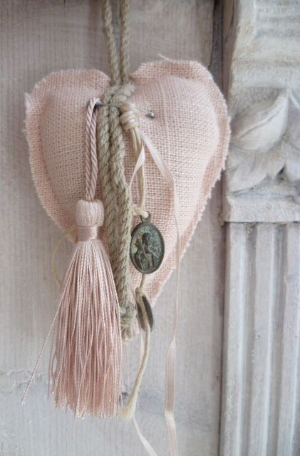 ~ Pink Linen, Tassel, Ribbon w/ Charm & Jute ~ So pretty for a door knob....