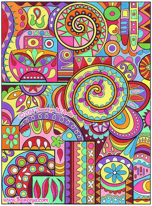 Colorful Abstract Coloring Page Art by Thaneeya McArdle | by thaneeya