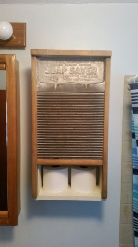 Use an old washboard as a door for a bathroom or laundry room cupboard.