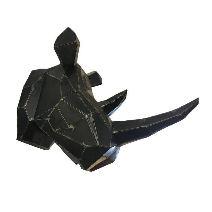 Rhino Head - Metal. Enchanting Rhino sculpture.