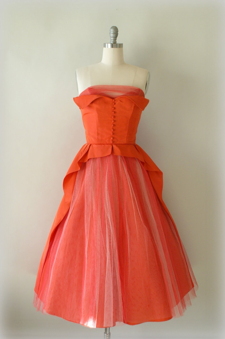 Vintage 1950s Coral Orange Formal Dress