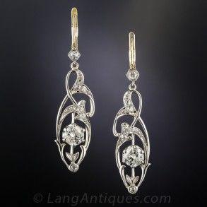 EDWARDIAN DIAMOND DROP EARRINGS #20-1-10078 $4,950.00