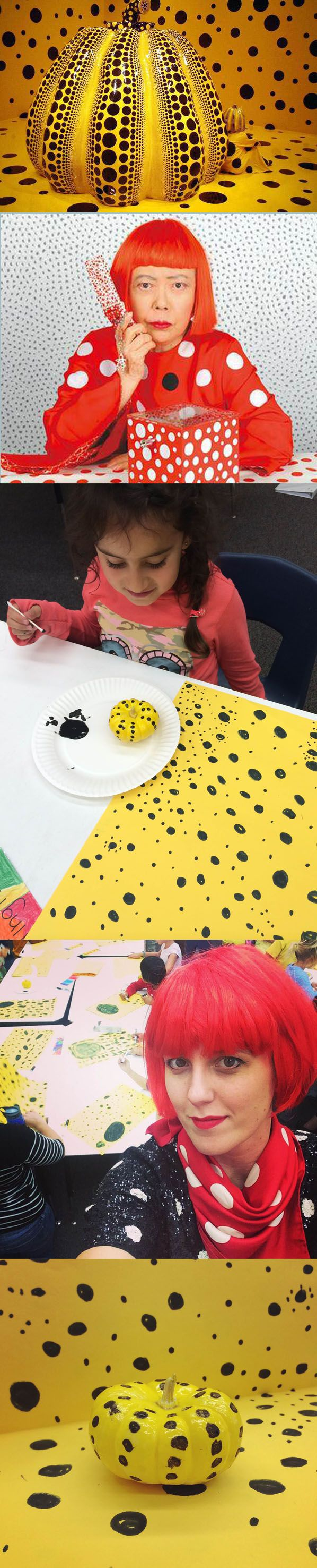 """Yayoi Kusama - a Halloween inspired class - the kids learned about the artist's obsession with dots and then we replicated her yellow pumpkin room installation by creating our own """"rooms"""" using 11x17 paper, black marker, mini-pumpkins, yellow & black jazz paint.  I showed up in costume as the artist."""