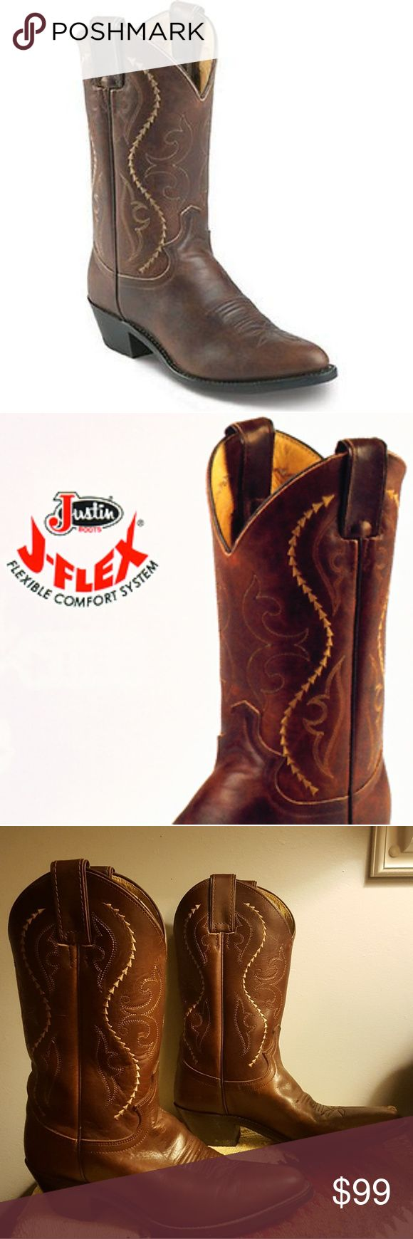 "Make an offer! Justin womens Cowboy Boots - size 7 STYLE:  #JUS-L4937 DESCRIPTION:  COFFEE SALTILLO with COFFEE SALTILLO top.  LADIES' WESTERN FASHION BOOTSSIZE:  7B COLOR:  COFFEE LEATHER:  SALTILLO COWHIDE TOE:  J6  or Medium Round toe HEEL:  M  1 5/8 Long Base Riding heel HEIGHT:  11"" WELT:  SINGLE STITCHED INSOLE:  J-FLEX® COMFORT SYSTEM OUTSOLE:  LEATHER  Excellent overall condition... general light wear...worn twice. Just too tight for me.  Please make an offer!  I'd love to see these…"