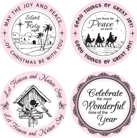 """Rubber Stamps - Christmas Treasures Borders & Centers Round 3-1/4"""": Ink Stamps, Christmas Seasons, Christmas Treasure, Treasure Border, Stamps Collection, Rubber Stamps"""