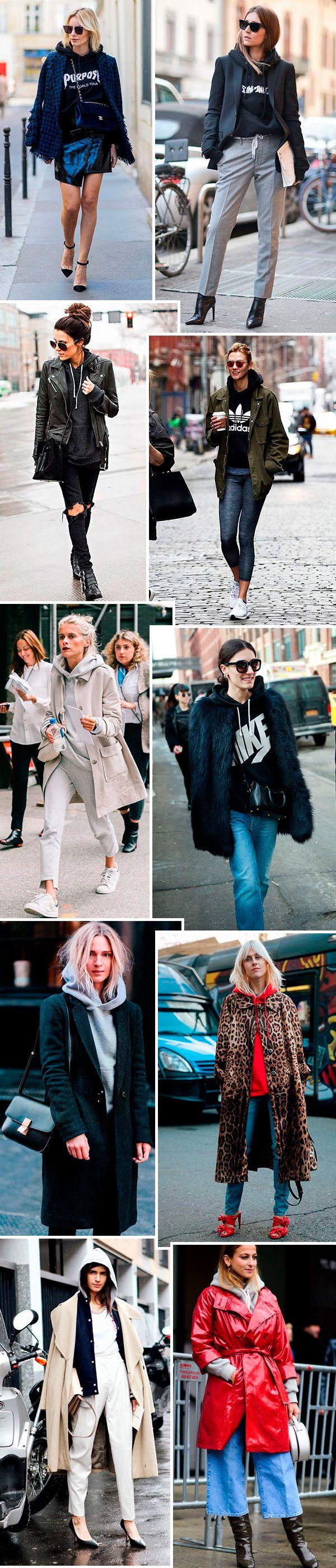 O truque de styling mais quente da estação: moletom com casaco