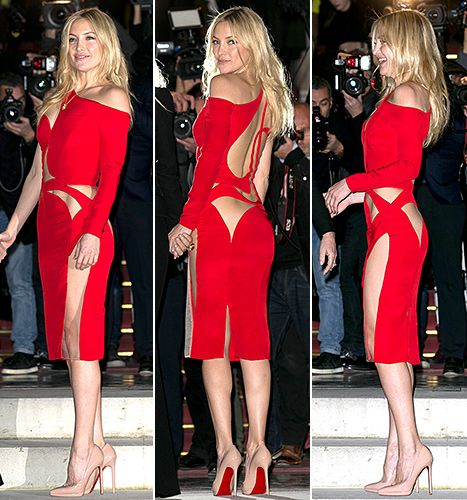Kate Hudson and her mom, Goldie Hawn, visited Paris, France, on Sunday, Jan. 25, to see Versace's latest couture creations for spring 2015—including the red-hot number Donatella Versace pulled straight from the collection so that Hudson could wear it to the show.