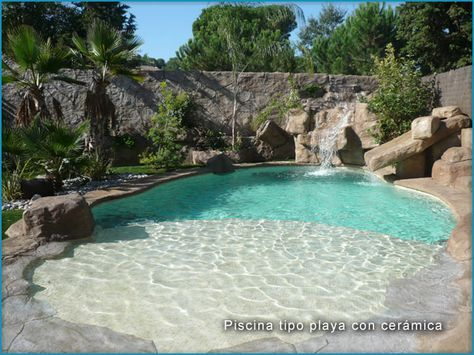 1245 best really cool pools images on pinterest natural for Walk in swimming pool designs