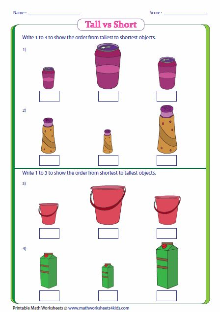 Tall vs Short: Ordering Containers : Size Comparison : Pinterest : Shorts, Math and Worksheets