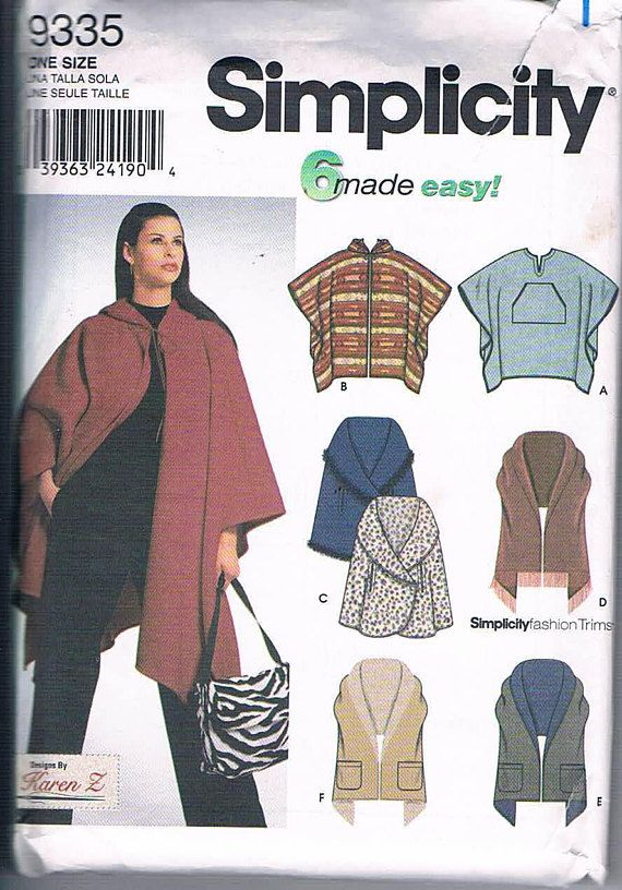 Simplicity 9335 Misses' Poncho and Wraps One Size Fits