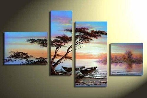 "4pc Arte Moderno Abstracto Pintura al óleo sobre lienzo sin marco ""figuras abstractas"" + Regalo   Arte, Pinturas   eBay!"