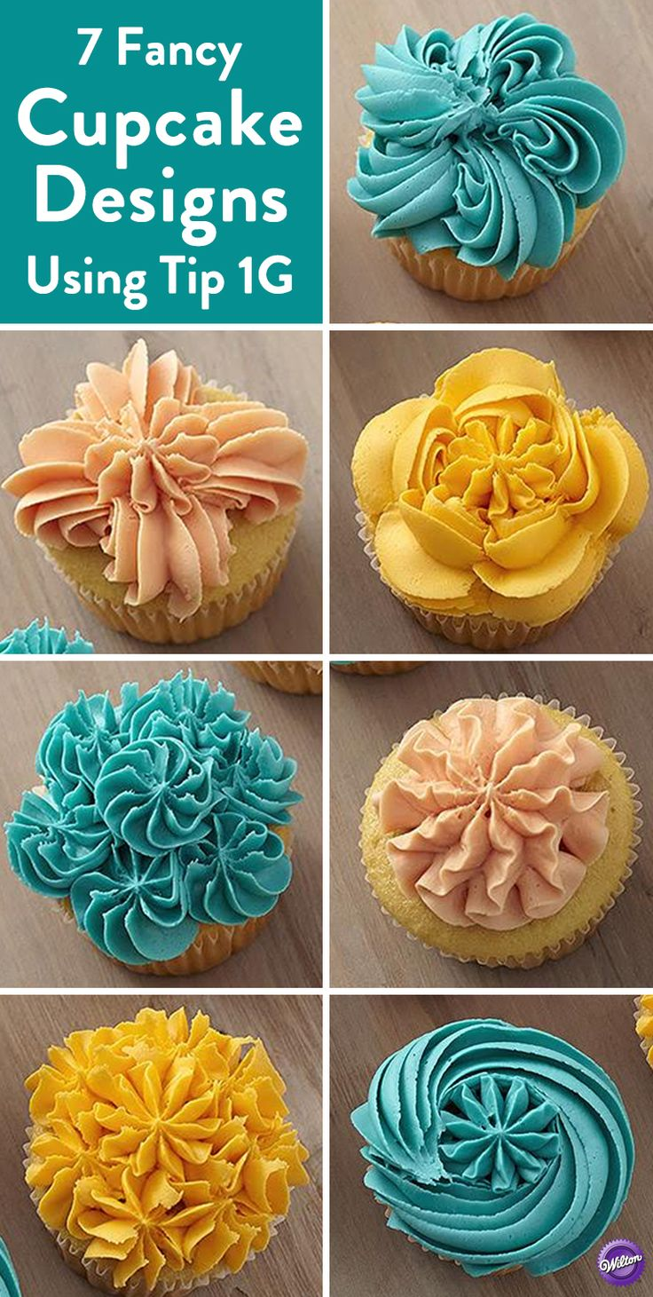 7 Easy Ways to Decorate Cupcakes Using Tip 1G - Create 7 fancy cupcake designs using just a single tip! Here a drop flower Wilton Tip 1G and three vibrant colors of icing create seven impressive cupcake designs perfect for any occasion.