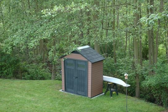 Keter Fusion 7.5 ft. x 4 ft. Wood and Plastic Composite Shed 219883 at The Home Depot - Mobile