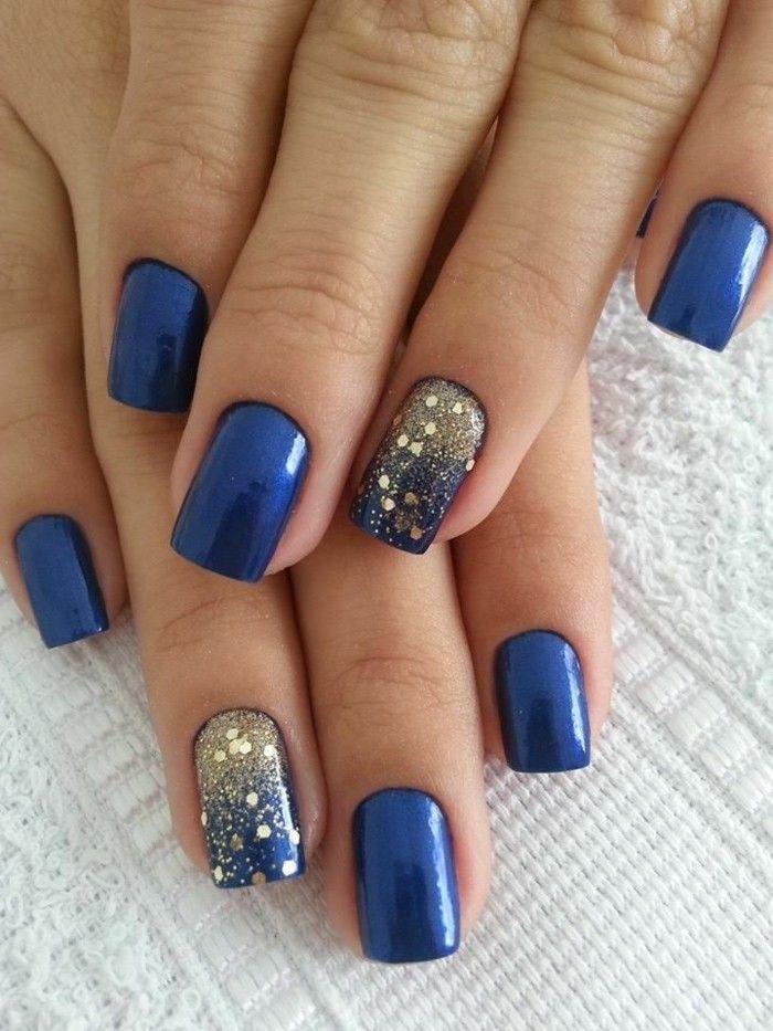 Glitzer nägel designs dunkel blau