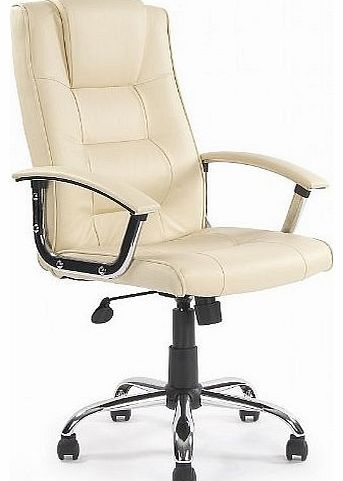 Office Furniture Online Melbourne High Back Cream Leather Faced Executive Office Chair Modern and comfortable cream leather faced manager chair with chrome base and padded arms. (Barcode EAN = 5053531000655). http://www.comparestoreprices.co.uk/leather-office-chairs/office-furniture-online-melbourne-high-back-cream-leather-faced-executive-office-chair.asp