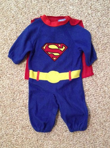 SUPERMAN Halloween Costume & Cape ~ Child Baby Size 0-6 Months SUPER HERO