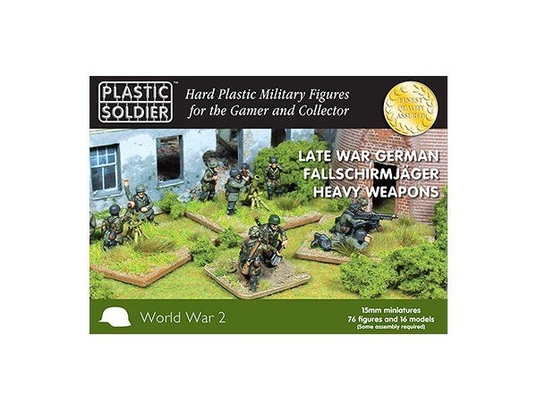 The Plastic Soldier Company 15mm Late War German Fallschirmjager Heavy Weapons Figures Set from the plastic model kits range provides a selection of highly detailed miniatures that accurately recreate the real life German Soldier from World War II. This model requires paint and glue to complete.