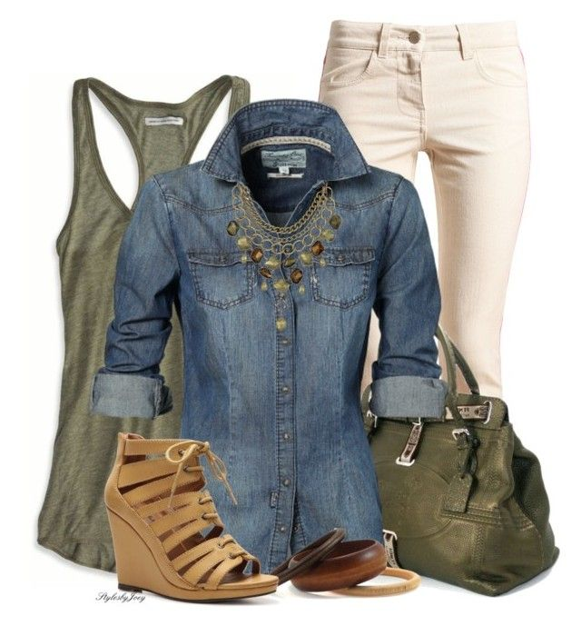 """Denim Ivory & Olive"" by stylesbyjoey ❤ liked on Polyvore featuring moda, American Eagle Outfitters, STELLA McCARTNEY, Fendi, Sam Edelman, Michael Antonio, Wedges, TankTops, olivegreen e denimshirts"