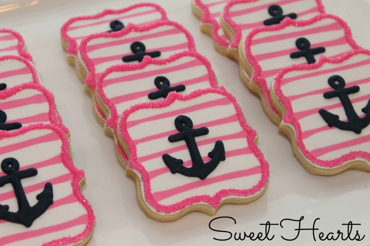 Girly anchor cookies!  Navy & pink! www.facebook.com/sweethearts3