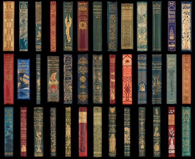 A selection of spines from Victorian publishers' bindings.