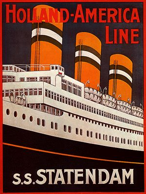 Vintage Holland-America Cruise Lines Travel Poster