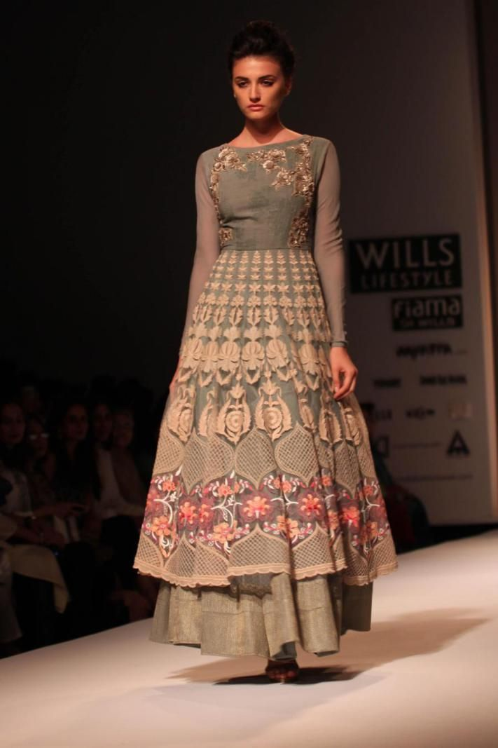 A model showcases creations of fashion designer Kavita Bhartia at Wills Lifestyle India Fashion Week Summer-Spring, 2015