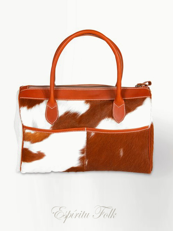 COW HIDE BAG $230.- Real leather mix brown & white. Collection available at espiritufolkstore.com