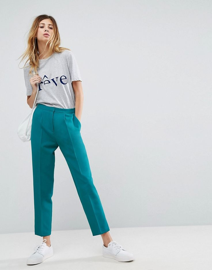 Click for more details. Worldwide shipping. ASOS Tailored Slim Trouser with  Split Cuff - Green: Trousers by ASOS Collection, Woven fabric, High-rise  waist, ...