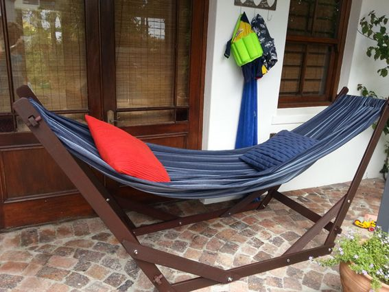 www.dreamtimehammocks.co.za - Our wooden hammock stand - The Eazilay,  by Dreamtime Hammocks. this hammock stand comes complete with double luxury hammock.
