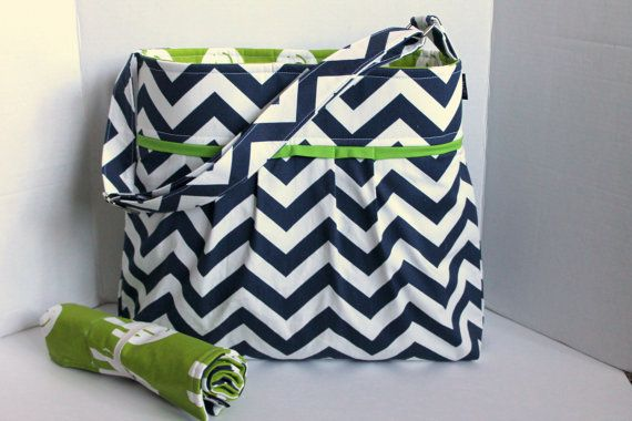 Monterey Chevron Diaper Bag Set  In Navy Chevron and by BagEnvy, $105.00