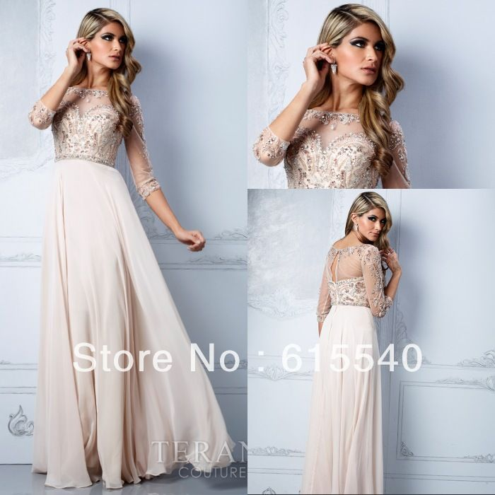 Best Selling A Line Scoop 3 4 Sleeve Prom Dresses Floor Length Champagne Chiffon Illusion Neck Prom Gowns  US $148.00