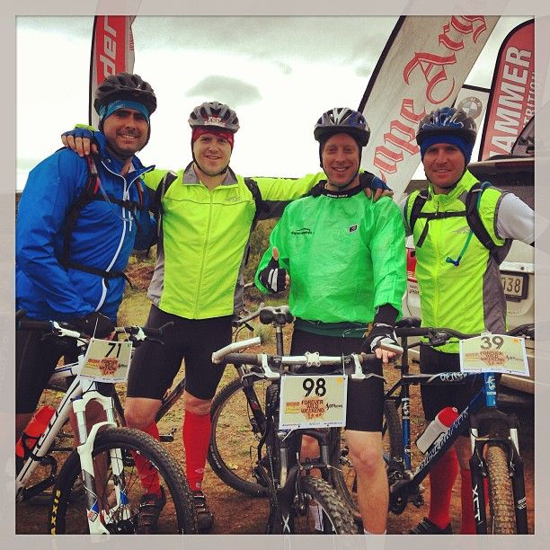 #RTFH riders Chris, Jack and Don, and Garrick Jones, before they head off for a long day of cycling at the RaceInterface Sanbona Wild Weekend. Well done to Jack for finishing his first mountain bike race!