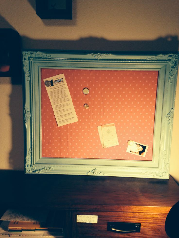 Vintage bulletin board from old frame, cork board and fabric :)