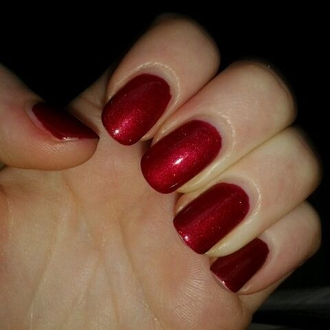 CND Shellac - Red Baroness (After 1 week of wear ...