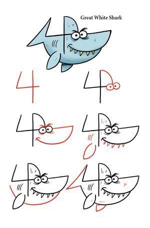 Nimm die Nummer 4 und verwandle sie in einen Hai, indem du den einfach zu zeichnenden Schritten folgst.