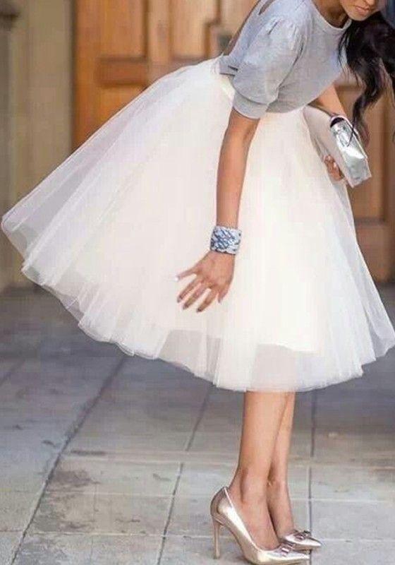 ab7dd7a0558b9f White Plain Draped Grenadine New Fashion Latest Women Puffy Tulle High  Waisted Knee Length Adorable Tutu Skirt
