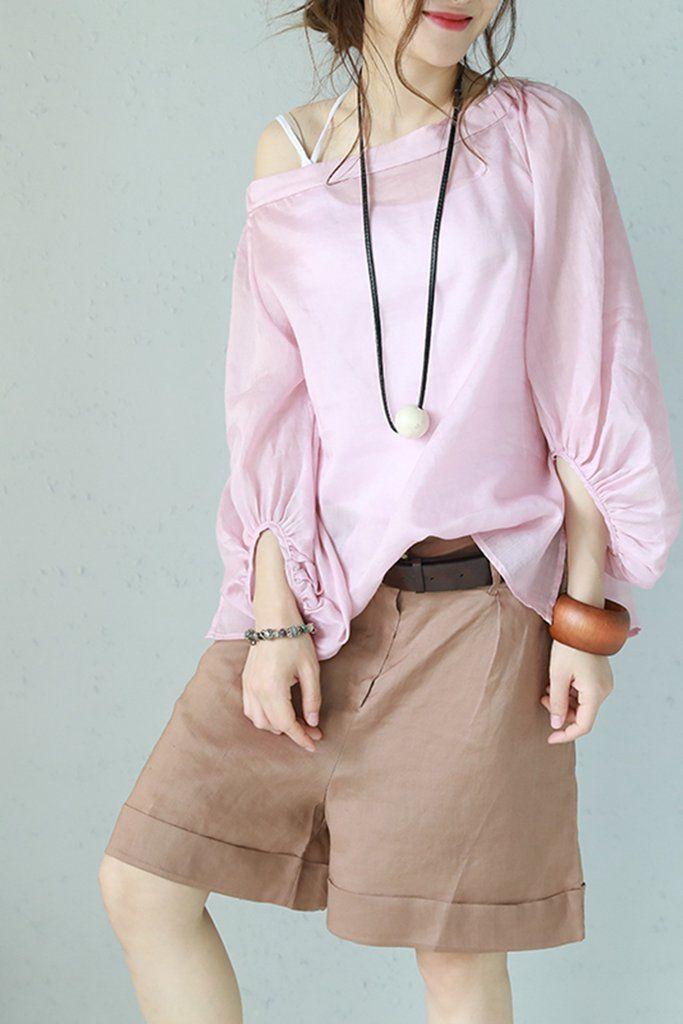 b3489af41d342b Korea Style Vintage Buff Sleeve Linen T Shirt Women Cute Blouse Q1135
