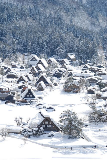Snow in Historic Villages of Shirakawa-go, Gifu, Japan。雪の中の白川郷。城山展望台からの眺め。