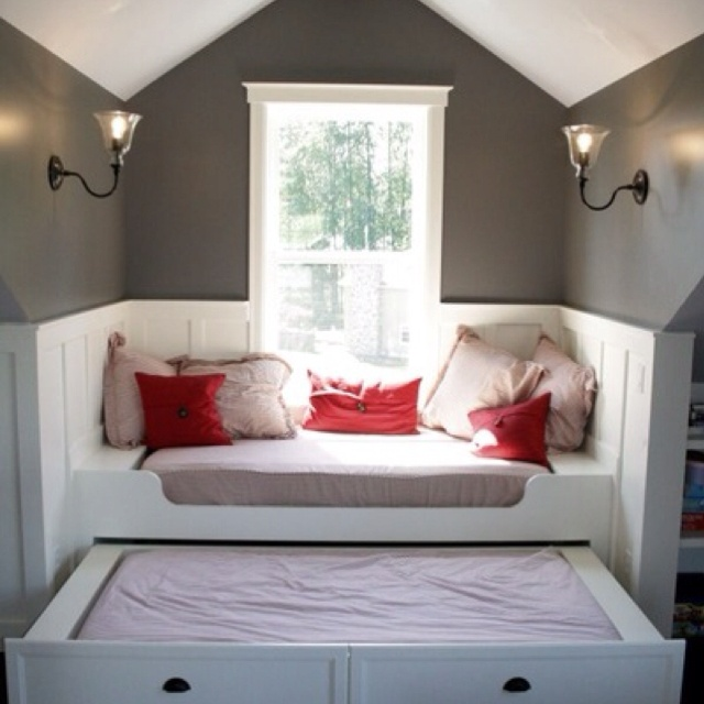 Guest/reading nook :)  This was what we were doing in Arkansas with our slanted walls.