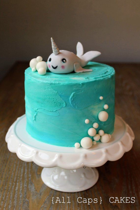 Fondant Narwhal Cake Topper | Customize | Kawaii | Cute ...
