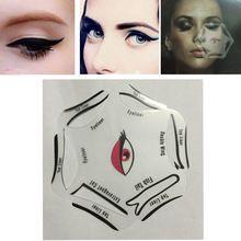 Multifunções Stencils Delineador 6 em 1 Cartão de Template Stencil Para O Forro Do Olho Delineador Desenho Template Stencil Maquiagem Ferramenta alishoppbrasil