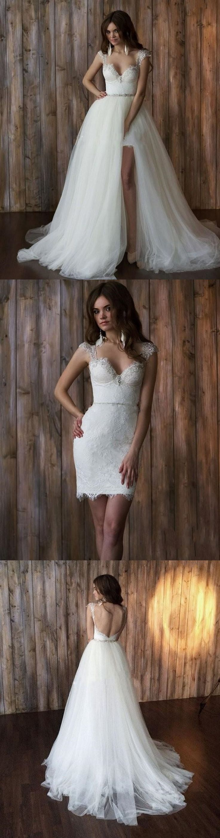 Bridal Gowns Sexy Lace Detachable Skirt  Wedding Dress Short In Front And Long In Back Vintage High Low Wedding Dresses 2016