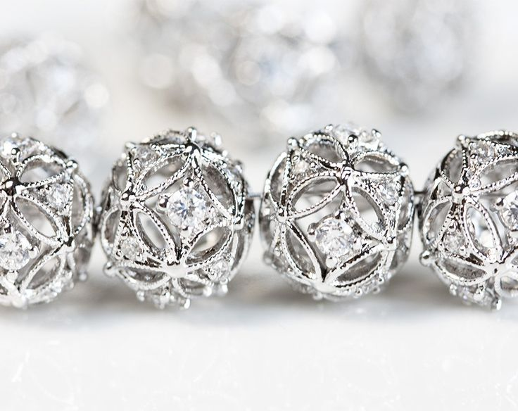 2460_Silver cz beads 10.5X12 mm, Cubic zirconia beads, Round spacer beads, Rhodium plated beads, Jewelry spacers, Silver bead spacers_1 pc. by PurrrMurrr on Etsy