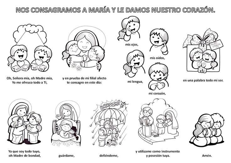 Ilustración para niños de la oración de consagración a la Virgen